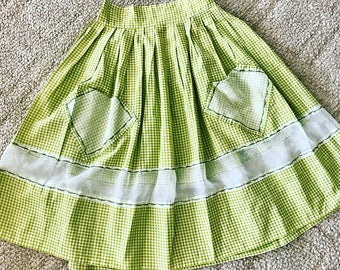 Adorable Vintage 1950's Green Gingham Apron Style Full Skirt -- Size S-M