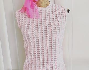 Vintage XL 1960's era Baby Pink Sleeveless Sweater -- So Adorable