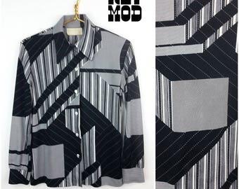 Vintage 70s Black & White Op Art Geometric Pattern Stretchy Button Down Shirt
