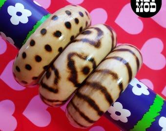 Cool Fashionable Trio Animal Print Wooden Bangles - Set of 3