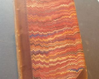 ON SALE Leather Bound Book - Guy Mannerly - by Walter Scott Marbeled Cover - 1800s - Rare Beautiful Book - English novel