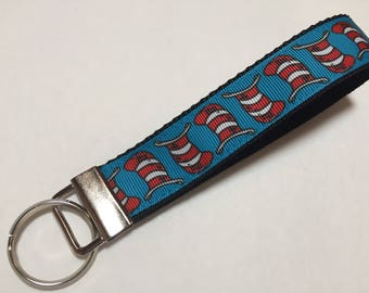 The Hat from Dr Seuss Cat in the Hat Keychain wristlet