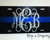 Thin Blue Line Car tag- Ultra Glitter With Monogram /Police/Police Wife/Blue Lives Matter