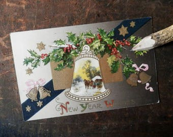 Vintage New Year's Postcard, Holiday Card, New Year's Eve, Antique Greeting Card, Garland, Bells, Horses, January 1
