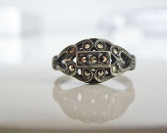Vintage Estate Antique Art Deco Sterling Silver 925 Marcasite Wedding Style Heart Band Ring Size 8