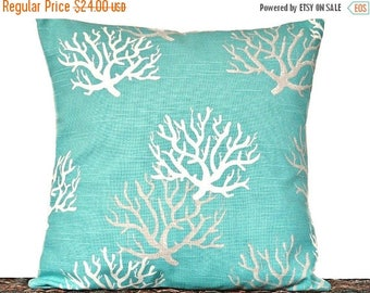 Christmas in July Sale Turquoise Sea Coral Pillow Cover Cushion White Taupe Coastal Beach Decorative 18x18