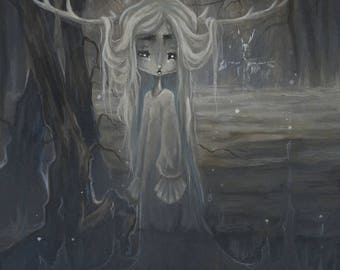 The Borderlands- Ghostly Deer girl art print