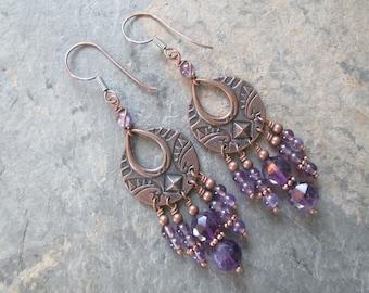 Amethyst & Copper Chandelier Earrings - Amethyst Boho Earrings - Chakra / Metaphysical Jewelry
