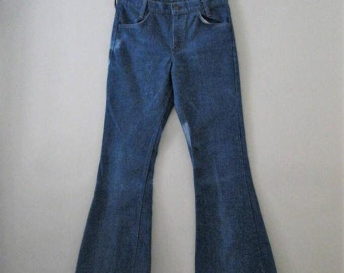 WINTER SALE Vintage 70s Levi bell bottoms / Hippie Boho denim Unisex bell bottom jeans / Orange tab Levis 30 x 33