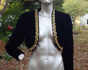 Cropped Jacket, Velvet Jacket, Gold Sequin Jacket, 80s Jacket, Evening Jacket, 80s Costume, Vintage Jacket, Bolero Jacket, 80s Jacket