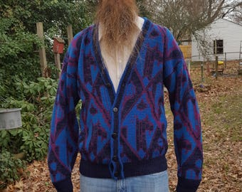 Mens Sweater, Cardigan Sweater, 80s Sweater, McGregor, Graphic Sweater, Vintage Sweater, Vintage Costume, 80s Costume, Sweater Size L
