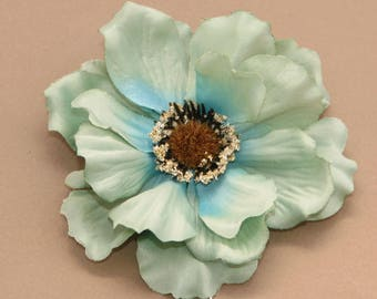 Light Teal Anemone - Artificial Flowers, silk flowers - FREE shipping with purchase of another item