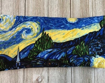 Starry Night Removable Cover- Organic Lavender and Rice Eye Pillow- Aromatherapy Eye Mask Yoga