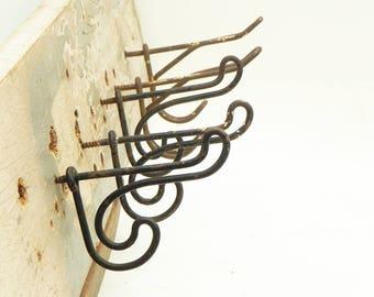 Lot of 5 Vintage Coat Hat Towel Wire Hooks Rustic Primitive Farm School House