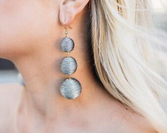 Silver 3 Ball Bon Bon Earrings
