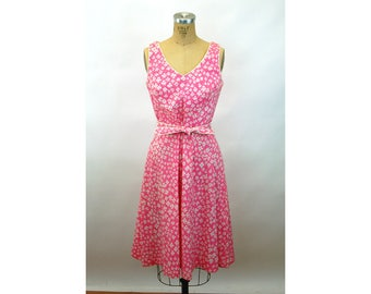 1960s Lanz sundress pink white floral cotton dress fit and flare Size M