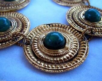 Vintage Marie Victoire Kamer Paris France Green Cabochon Gripoix Glass Etruscan Style Haute Bracelet