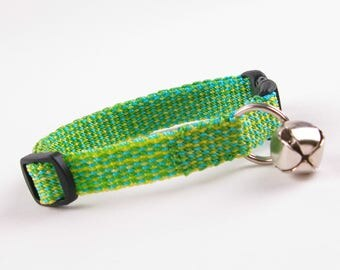 Kitty Cat Collar Hand Woven Breakaway Kitten Collar Spring Green Turquoise and Yellow Speckle