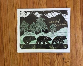 Smoky Mountains block print
