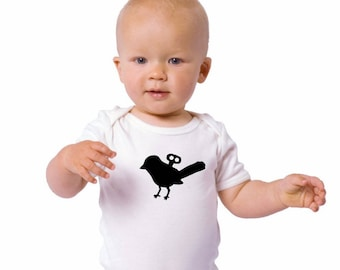 Wind Up Bird Baby Bodysuit, Cotton Infant Onepiece, Hand Printed Baby Bird Bodysuit, Mechanical Bird, Baby Clothes, Short Sleeved Shirt