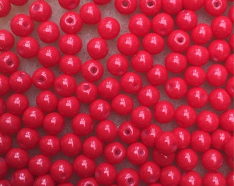 50 x red baking paint glass beads 4mm