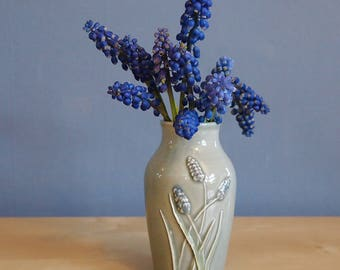 bud vase with hyacinths in Smoke
