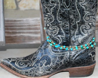 Boot Chain Gold Turquoise Boot Embellishment Bling Bracelet Beaded Country Western Rodeo AG Show Jewelry Rustic Wedding Chic Prom Stock Show