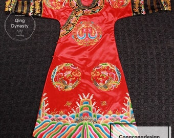Qing Dynasty hand embroidery Chinese Empress Dragon robe Chinese Wedding dress 中国清朝龙袍