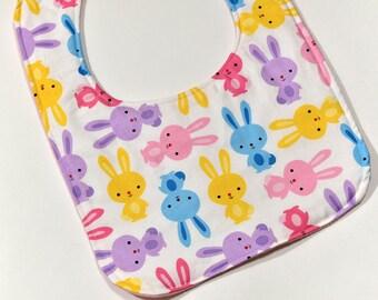 Cute Baby Girl Bib Baby Shower Gift, Infant Bib, Girl Bib, Baby Accessories, Cute Colorful Rabbits