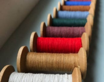 SALE Today Single Blonde Spool  - Blonde 2 Inch Wooden Bobbins with brightly colored thread - Rustic Valentine DIY Home Studio Decor