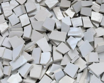 150 - Broken Plate Tiles - White Filler Tiles - Mosaic Tiles - Shades of White -