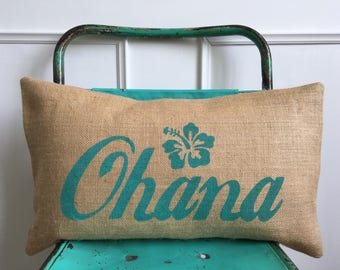 Ohana family turquoise aqua Hawaii burlap pillow hessian cushion cover