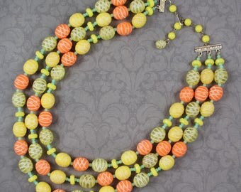 Vintage Triple Strand Yellow, Orange and Green Plastic Beaded Hong Kong Necklace
