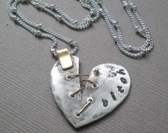 ON SALE Chic Bitch Heart Necklace. Broken Heart Pendant. GIFT. Best Bitch - Best Friends. Sister to Sister.