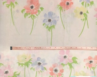 Queen Vintage Flat Sheet with Pastel Flowers