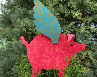 Metal Art Sculpture Flying Pig Tree Topper Coral Magenta Turquoise Christmas Ornament Recycled Metal Whimsical Pig When Pigs Fly Custom
