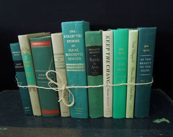 Book Lovers Gift - Home Staging Interior Decor Green & Beige Books for Decor - Vintage Books by the Foot - Bookshelf Decoration