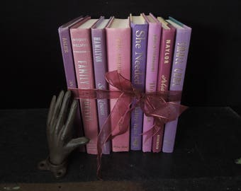 Purples Pinks Colorful Book Stack - Books for Decor - Wedding Display - Prop Photo Shoot Interior Bookshelf Decor Vintage