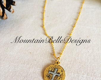 Handmade Gold Coin Necklace - Gold Pirate Coin - Handmade Gold Necklace - Simple Coin Necklace - Reversible Necklace - Pirate Necklace
