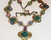 SALE SALE SALE Art Nouveau Art Deco Czech Multi Color Crystal Ca  Antique Vintage Necklace Singed