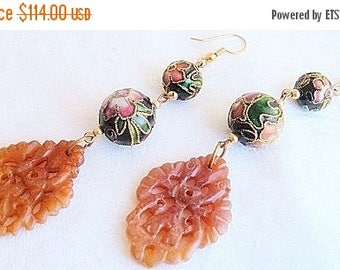 CIJ SALE Christmas JULY Beautiful Old Chinese  Carved Golden Jade Relief Cloisonne Vintage Earrings
