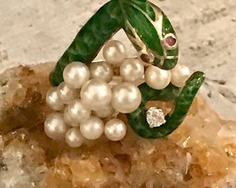 RESERVED 4 Steve Beautiful 14kt Gold Enamel Snake Natural Pearl Diamond Ruby Eyes Vintage Antique Snake Ring
