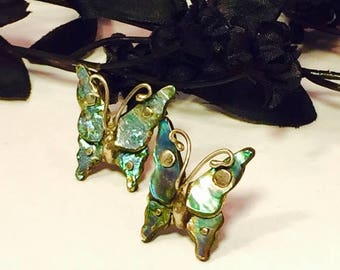 SALE SALE SALE Beautiful Old Mexican Butterfly Sterling Silver Mother of Pearl Vintage Earrings