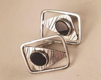 "Handmade ""Fiskicuffs"" Sterling Silver and Onyx Cufflinks"