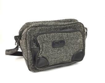 Vintage Pierre Cardin Tweed Wool Flight Tote Shoulder Travel Luggage Bag