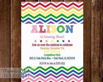 20% OFF SALE Vertical Rainbow Chevron Birthday Invite - White Background - Rainbow Party - Rainbow Invite - PRINTABLE Invitation Design