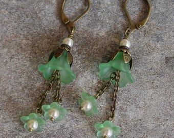 Vintage Matte Satin Sea Foam Green Lucite Flower Earrings