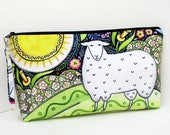 Knitting Project Bag, Springtime Sheep Meadow, Extra Large Zipper Pouch, Julie  Paschkis