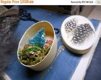 SALE Little Owl Necklace No.1  Mini Diorama Dried Terrarium Moss Feathers Frosted Spruce Tree Neck Art Assemblage. Handmade Rustic Woodland