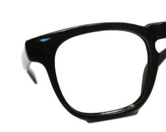 Vintage 50s 60s Mens Black Horn Rim Eyeglasses Eyewear Frame